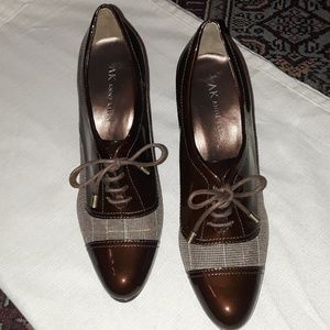 Anne Klein Magalaxy Plaid and Patent Leather Heels